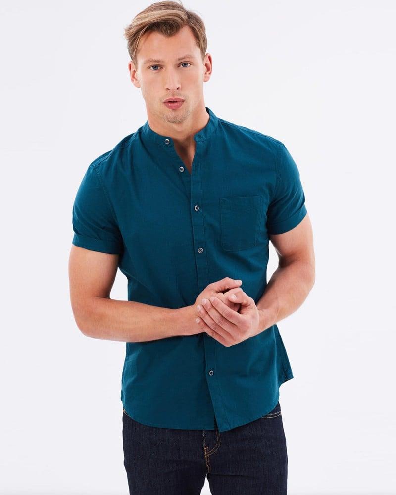 Burton Menswear SS Teal Oxford Grandad Collar Shirt